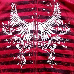 2X Venezia by Lane Bryant Red Skull Vest Hoodie